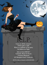 RIP Brunette Halloween Witch Invitation