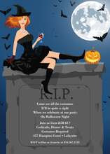 RIP Redhead Halloween Witch Invitation