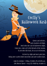 Blonde Halloween Witch Flight Invitation