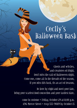 Redhead Halloween Witch Flight Invitation