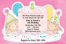 Pink Birthday Party Cake Invitations