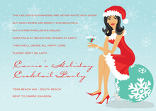 Asian Holiday Santa Girl Invitations