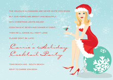 Blonde Holiday Santa Girl Invitations