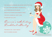 Brunette Holiday Santa Girl Invitations