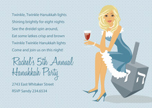 Blonde Hanukkah Girl Invitations