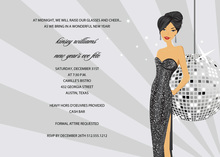 Glamorous Asian Disco Girl Bridal Shower Invitations