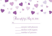 Shower Of Hearts Grape RSVP Cards