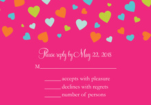 Shower Of Hearts Hot Pink RSVP Cards