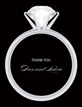 Solitaire Engagement Black Thank You Cards