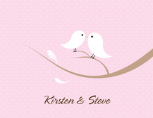 Love Birds Pink Thank You Cards