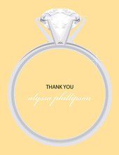 Chic Solitaire Yellow Thank You Cards