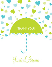 Forecasting Love Blue-Green Thank You Cards