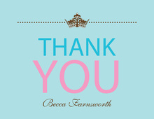Princess Shower Chocolate-Blue Thank You Cards