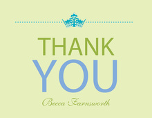 Princess Shower Turquoise-Lime Thank You Cards