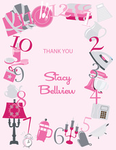 Around The Clock Icons Pink Thank You Cards
