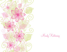 Decorative Floral Pink-Green Thank You Cards