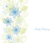 Decorative Floral Blue-Green Thank You Cards