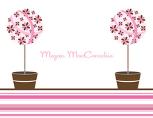 Floral Topiaries Pink-Chocolate Thank You Cards