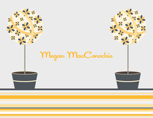 Floral Topiaries Grey-Yellow Thank You Cards