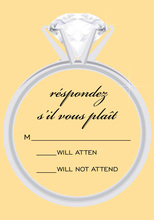 Solitaire Trendy Clock Yellow RSVP Cards