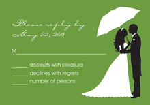 Couple Shower Silhouette Green RSVP Cards