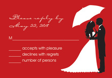 Couple Shower Silhouette Red RSVP Cards