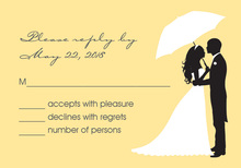 Couple Shower Silhouette Yellow RSVP Cards
