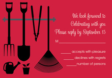 Garden Tools Red RSVP Cards