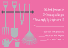 Garden Tools Bright Pink RSVP Cards