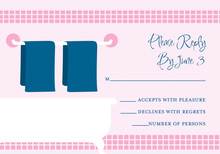 Linen Shower Pink-Navy RSVP Cards