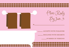Linen Shower Chocolate-Pink RSVP Cards
