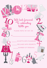 Around The Clock Icons Pink RSVP Cards