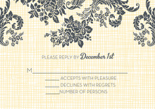 Trendy Rose Linen Yellow RSVP Cards
