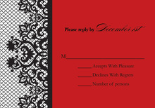 Bachelorette Fishnet Red RSVP Cards
