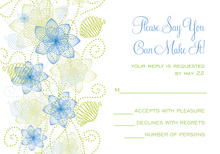 Floral Decorative Blue-Green RSVP Cards