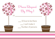 Floral Topiaries Chocolate-Pink RSVP Cards