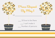 Floral Topiaries Grey-Yellow RSVP Cards