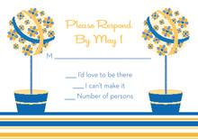 Floral Topiaries Blue-Yellow RSVP Cards