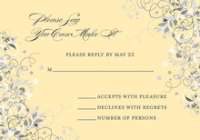 Floral Corners Yellow RSVP Cards