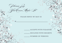 Floral Corners Blue RSVP Cards