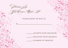 Floral Corners Chocolate-Pink RSVP Cards