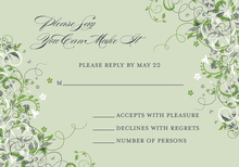 Floral Corners Green RSVP Cards