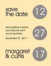 Circles Grey-Yellow Save The Date Invitations