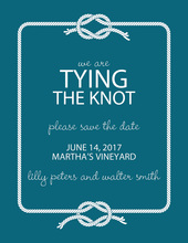 Wedding Knot Teal Save The Date Invitations