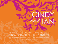 Fancy Swirls Orange-Pink Save The Date Cards