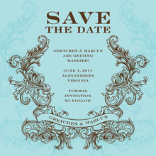 Antique Swirl Chocolate-Blue Invitation