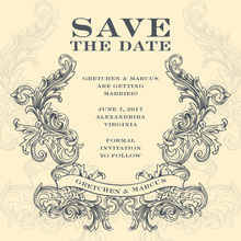 Antique Emblem Grey-Yellow Invitation