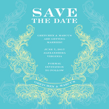 Traditional Swirl Turquoise-Lime Invitation