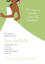 African American Bride Green Invitations