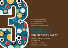 Soccer Number Three Chocolate Invitations